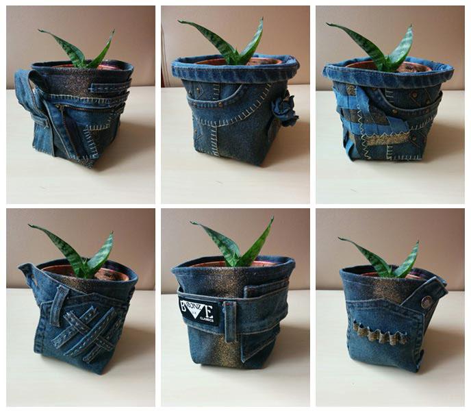 Jeansowe osłonki na donice