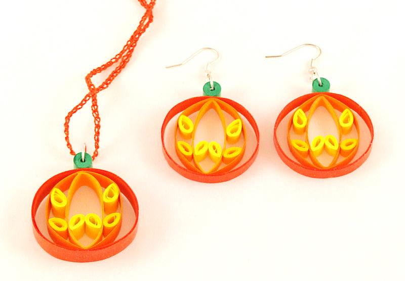 Pumpkin earrings + necklace